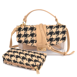 3AM HPC3109 2in1 crossbody clutch houndstooth beige