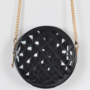 3AM HPC3126 round jelly quilted mini crossbody black