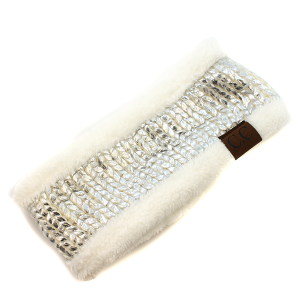 Winter CC Headband 015i Cable headwrap sherpa lining metallic ivory silver