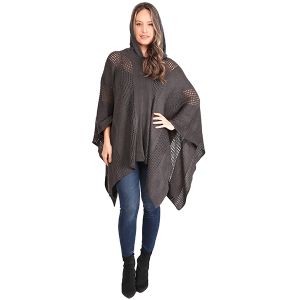 Poncho 476a 07 Janice Apparel knitted solid hood gray