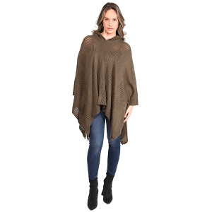 Poncho 475a 07 Janice Apparel knitted solid hood olive
