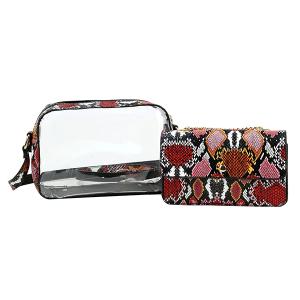 Handbag Republic JYV-0313 MT4 2in1 transparent shoulder bag multi snake print