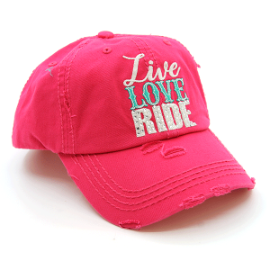 Cap 407 30 KBEthos distressed cap live love ride pink