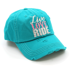 Cap 406 30 KBEthos distressed cap live love ride turquoise