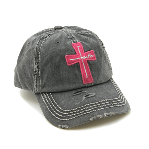 Cap 378a 30 KBEthos distressed cap faith cross gray