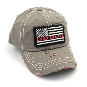 Cap 401a 30 KBEthos distressed ribbon flag patch light gray