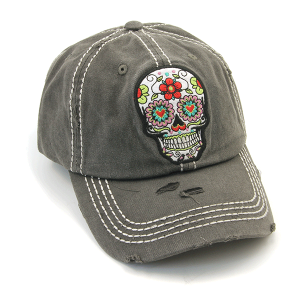 Cap 415a 30 KBEthos distressed floral sugar skull charcoal