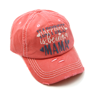 Cap 320a 30 KBEthos distressed cap happiness is being a mama pink