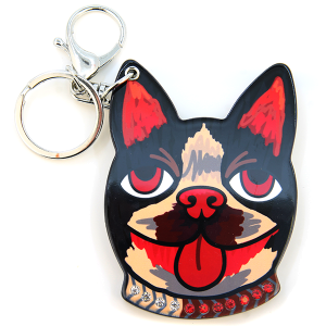 Keychain 015a 34 Dog jewel collarslide mirror black