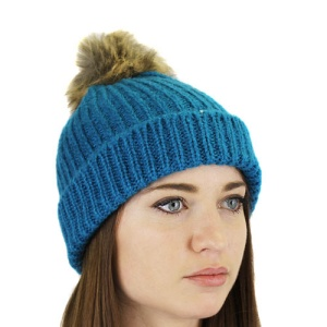 winter cap 018 30 beanie knit animal faux fur turquoise