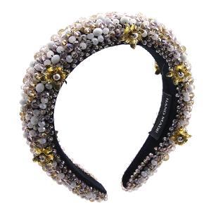 Headband 072a 52 Jennifer & Co beaded flowers LCT