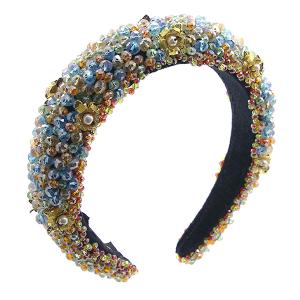 Headband 053a 52 Jennifer & Co beaded flowers multi color