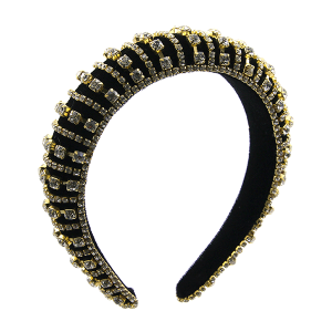 Headband 037a 52 Jennifer & Co rhinestone black gold clear