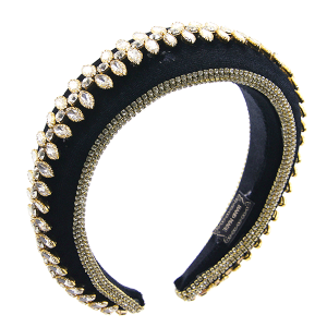 Headband 104a 52 Jennifer & Co rhinestone black gold clear