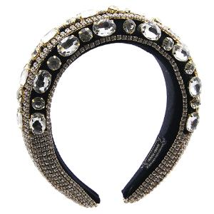 Headband 147a 52 Jennifer & Co rhinestone black gold clear