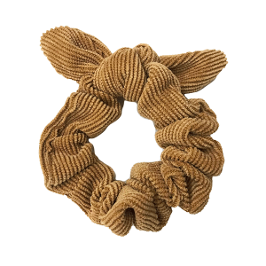 Hair Tie 777 30 KW corduroy bow scrunchie camel