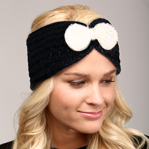 winter cap 069a 04 LOF cable knit bow headband black