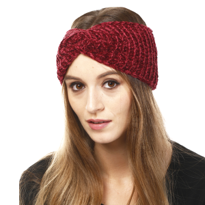 Winter Knit Headband 204 LOF solid ribbed stretch burgundy