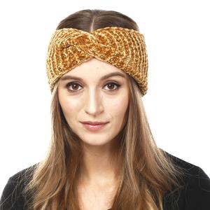 Winter Knit Headband 056 LOF solid ribbed stretch mustard