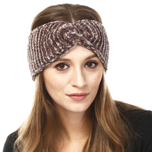 Winter Knit Headband 206 LOF solid ribbed stretch taupe