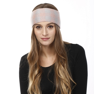 Winter Knit Headband 062 LOF plaid stretch pink