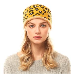 Winter Headband 209 04 LOF leopard print mustard