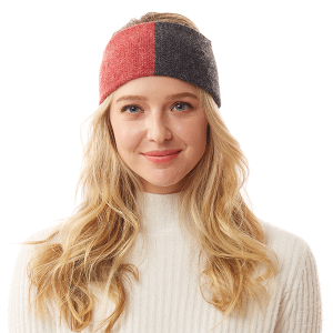 Winter Headband 051a 04 LOF two tone knit burgundy