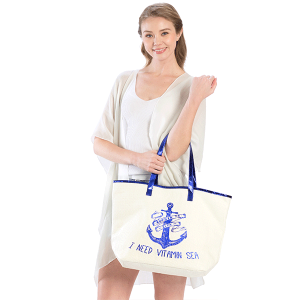 LOF LOA-129 beach tote anchor I Need Vitamin Sea ivory