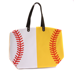 Wholesale Large Canvas Baseball Tote Bag In White & Yellow