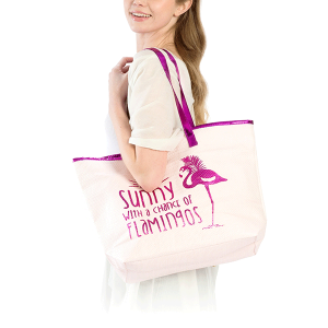 LOF LOA130 beach tote sunny with a chance of flamingos pink