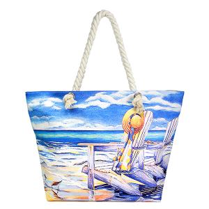LOF LOA339 rope handle beach tote beach sea painting