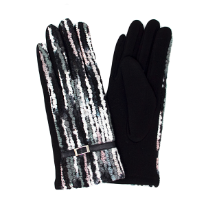 Gloves 037 LOF Touch Screen multi color yarn black