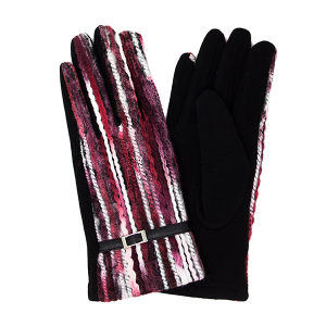 Gloves 041 LOF Touch Screen multi color yarn burgundy