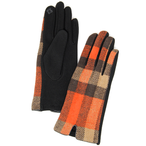 Winter Gloves 022 04 LOF soft plaid accent smart touch coral