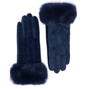 Winter Gloves 054 04 LOF soft chenille fur smart touch navy