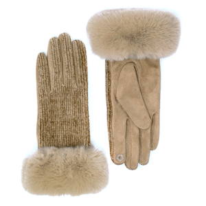 Winter Gloves 056 04 LOF soft chenille fur smart touch taupe