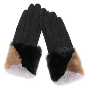 Winter Gloves 043 04 LOF soft faux fur smart touch black
