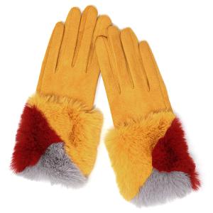 Winter Gloves 036 04 LOF soft faux fur smart touch mustard