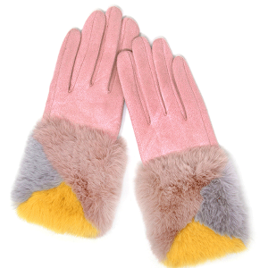 Winter Gloves 047 04 LOF soft faux fur smart touch pink