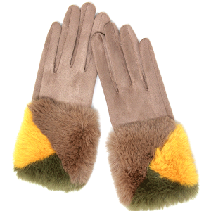 Winter Gloves 046 04 LOF soft faux fur smart touch taupe