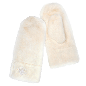 Winter Gloves 059a 04 LOF soft fur snowflake mitten ivory