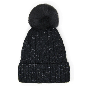 Winter Beanie 384 LOF cable knit lurex pom black