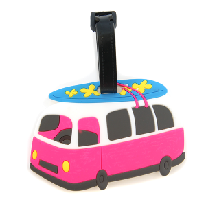Luggage tag 029b Summer Surfboard bus pink blue