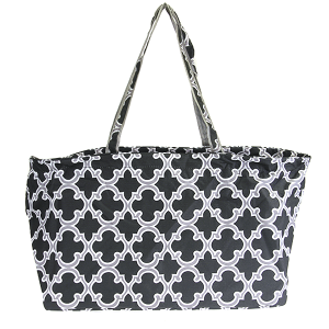 luggage CK LUT-708 large utility tote quatrefoil black gray