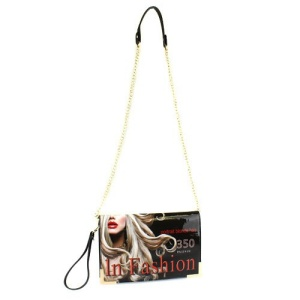 LUX MGC 8261 magazine print clutch black