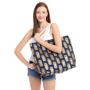 TPO MB0028 canvas tote pineapple navy blue