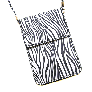 Zebra Pouch Crossbody Leather black