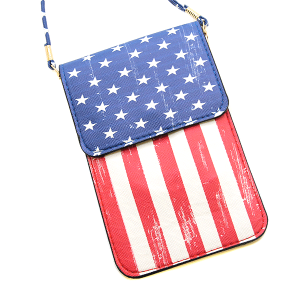 USA Flag Pouch Crossbody Leather Multi