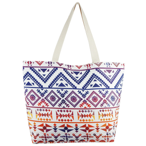 TPO MB0122 canvas tote bag geometric aztec navy red
