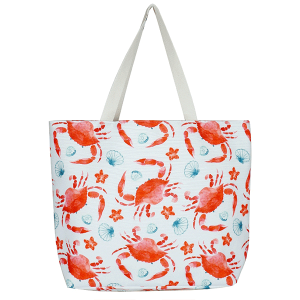 TPO MB0123 canvas tote bag sea shell crabs red